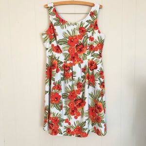 AGB blue and orange belted tropical flower dress